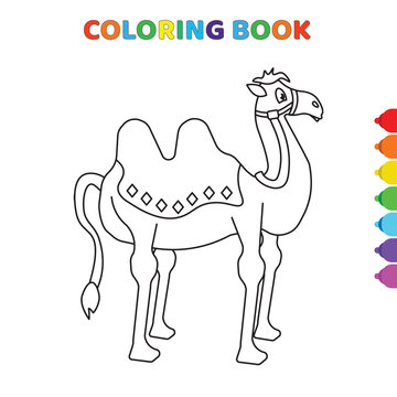 cute cartoon camel front view coloring book for kids. black and white vector illustration for coloring book. camel front view concept hand drawn illustration
