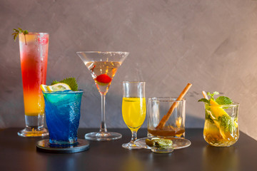 Colourful of many cocktail in wine glass.