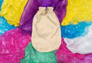 Cotton sack on plastic bags