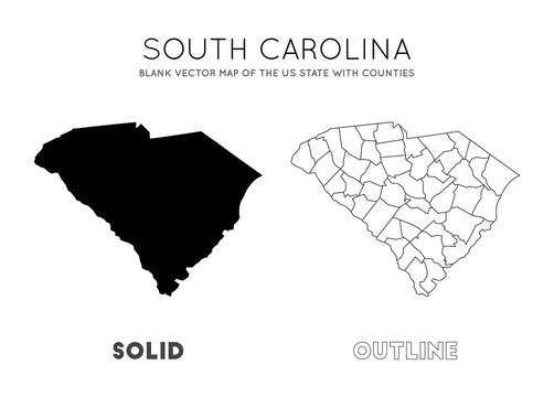 South Carolina map. Blank vector map of the Us State with counties. Borders of South Carolina for your infographic. Vector illustration.