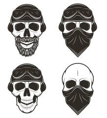 Motorcycle skull set, vector hand drawn illustration