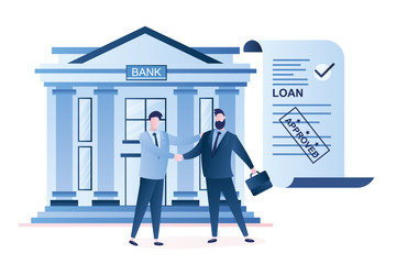 Businessmen handshake, successful business negotiations and approved loan.