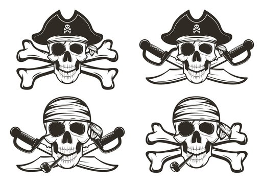 Pirate skull set vector hand drawn illustration