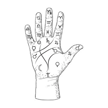 Palmistry. Esoteric occult symbols on hand, palm of prophecy or reading design. Hand drawing. Vector.