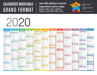 Calendrier 2020 modifiable - Grand format
