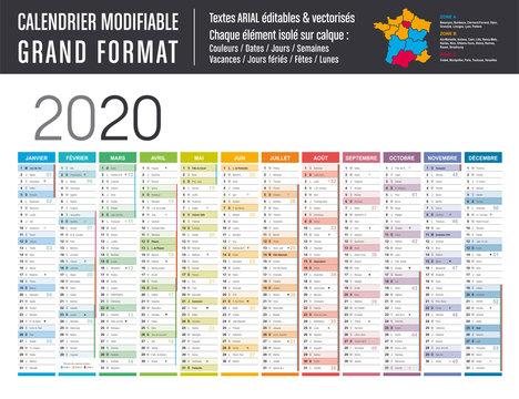 Calendrier 2020 modifiable - Grand format