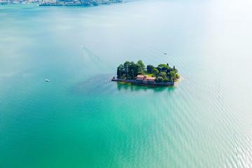 Lago D'Iseo (IT) - Monte Isola - vista aerea dell'isola di San Paolo
