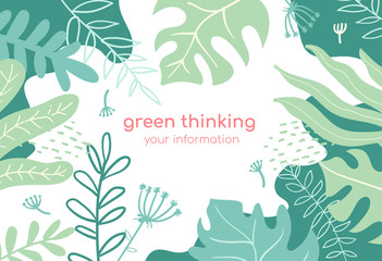 Green thinking - modern flat design style abstract banner
