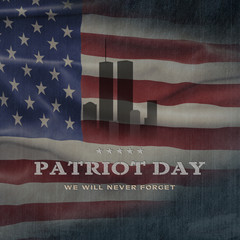 American National Holiday. US Flag background with American stars, stripes and national colors. Text: Patriot Day