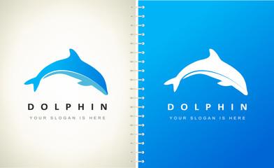 Dolphin logo vector. Underwater animal.