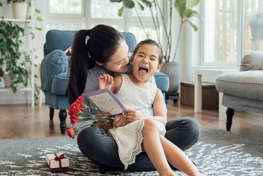 Mother receive gifts during mother's day