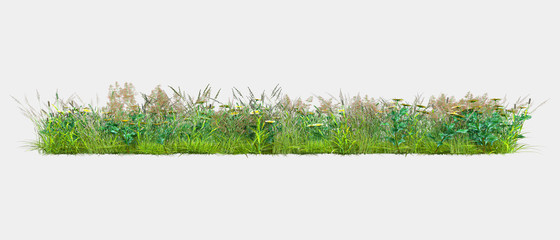 Background illustration of green field of grass with flowers. 3D rendering. Useful for commercial...