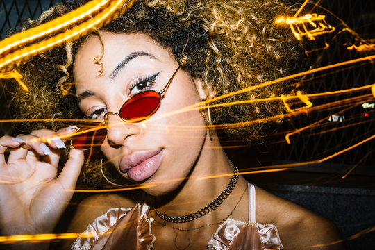 Afro woman portrait with light painting