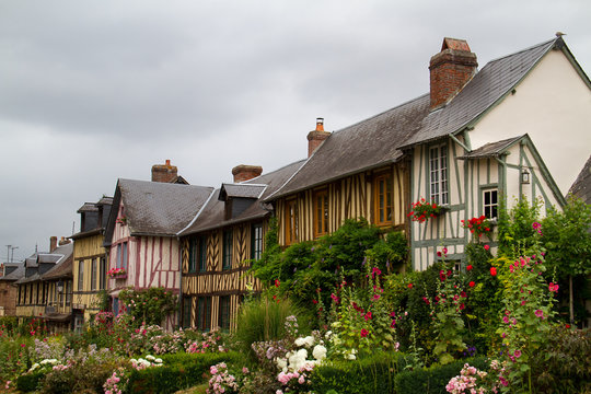 Le Bec-Hellouin, Haute-Normandie, typical timbered houses and lots of colourful flowers