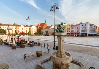 Bydgoszcz. Architecture of the old town square in the morning