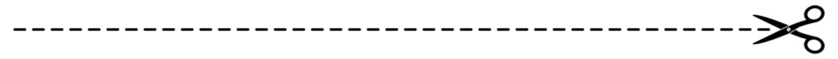 gz460 GrafikZeichnung - german: Schere Symbol mit Schnittlinien / Strichlinie - english: scissors with cut lines icon / dash line. simple template isolated on white background - banner 14to1 g8508