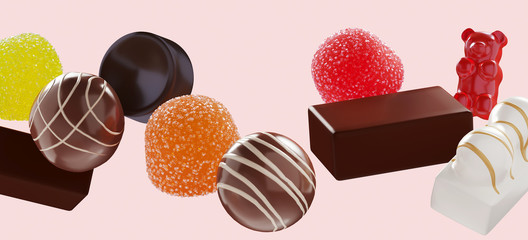 Abstract pattern background of sweet candies for happiness concept. Chocolate and jelly with sugar crystals on pink background. 3d rendering illustration.