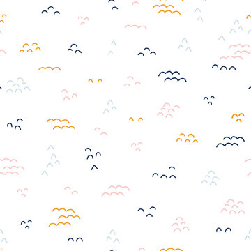 Abstract doodle shapes seamless vector pattern. Kids background. Coordinate