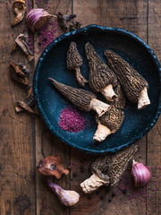 morels and assorted mushrooms