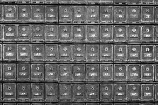 Post boxes at a mail office, Australia.