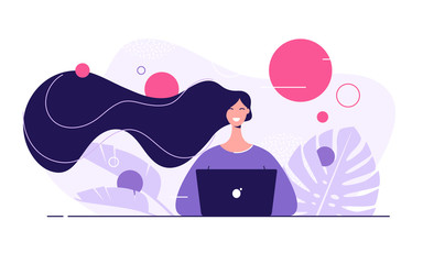 Vector flat style illustration of a young beautiful woman with laptop surrounded by tropical leaves