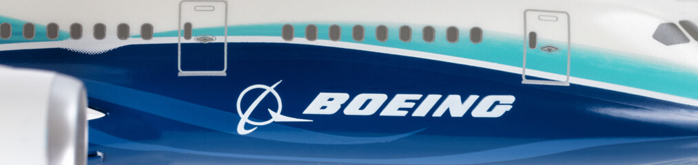 Boeing logo on model airplane in close up view for editorial purposes