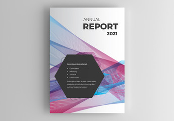 Report Cover Layout with Abstract Colorful Background