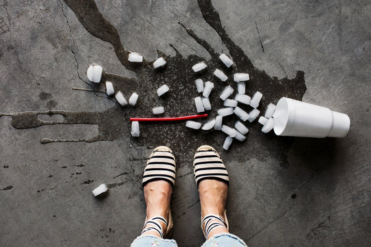 woman with a spilled drink