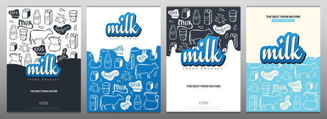 Set of Milk banners with hand draw doodle background.