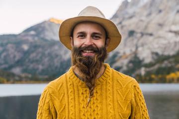Portrait of bearded man enjoying Mammoth Lakes views