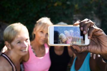 Group selfie senior women fitness.