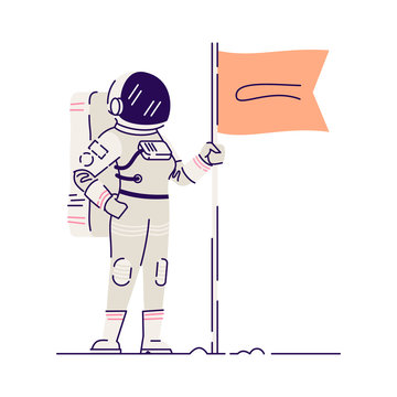 Cosmonaut planting flag flat vector illustration. Female cosmonaut wearing spacesuits isolated cartoon character on white background. Cosmos exploring, cosmic mission. Crew member of spacecraft
