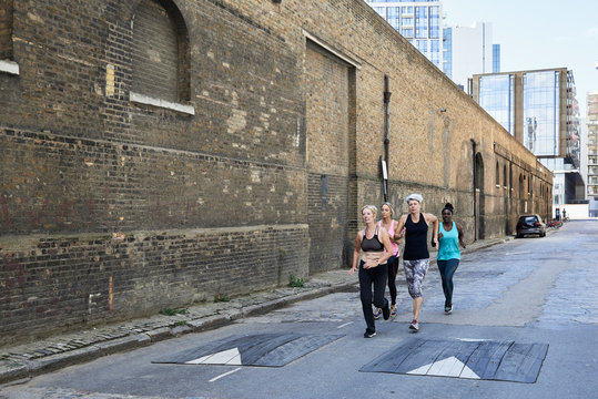Mature urban runners.
