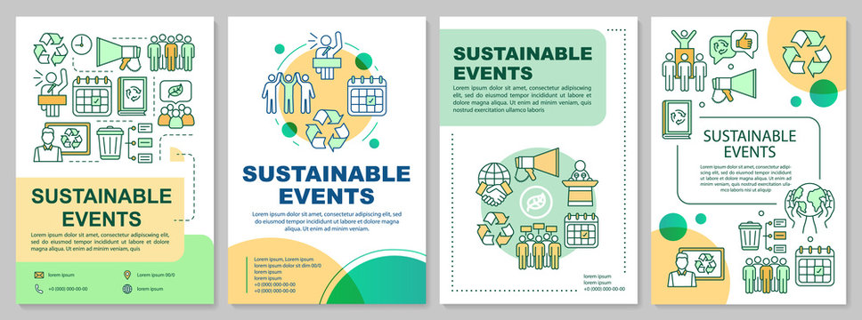 Sustainable event management brochure template layout. Event greening. Flyer, booklet, leaflet print with linear illustrations. Vector page layouts for magazines, annual reports, advertising posters
