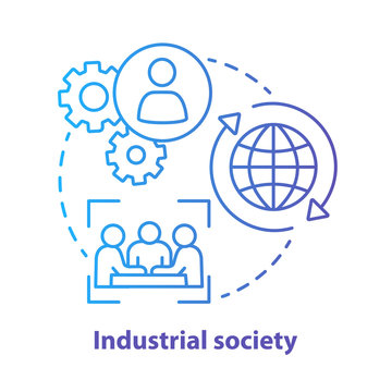 Industrial society blue concept icon. Mass production technology idea thin line illustration. Labor industrialization. Technological innovation. Vector isolated outline drawing. Editable stroke