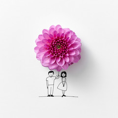 Pink flower in the form of an umbrella, drawn by a man and a wom