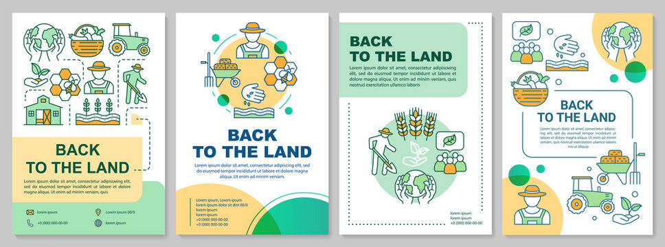 Back to the land brochure template layout. Agrarian movement. Flyer, booklet, leaflet print design with linear illustrations. Vector page layouts for magazines, annual reports, advertising posters