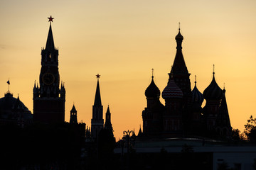 Fototapete - Moscow Kremlin and St Basil`s Cathedral at night, Russia