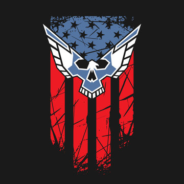 USA flag with eagle and skull