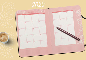 Calendar Layout with Floral Illustration Elements
