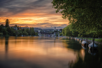 Sonnenuntergang Lindli mit Blick zum Munot 23.08.2019