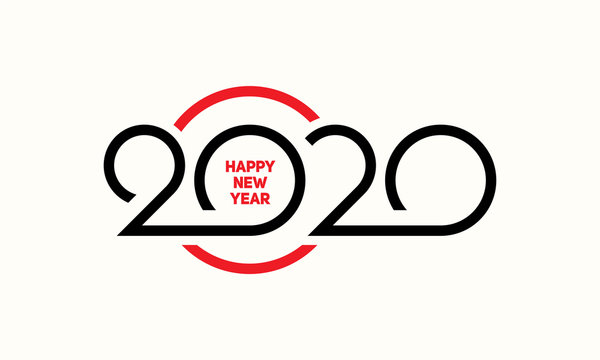 Happy New Year 2020 Text Design Lettering, Vector Logo illustration.