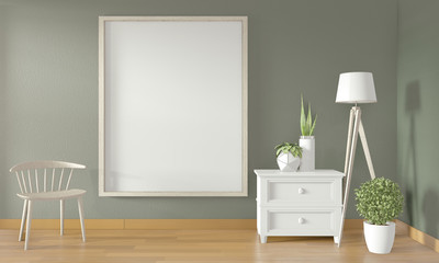 Poster frame on green wall and white chair and decoration minimal design.3D rendering