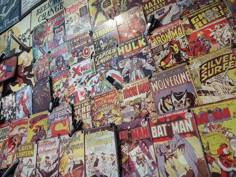 Comic books covers in a shop