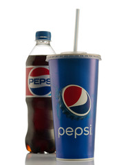 MINSK, BELARUS - APRIL 5, 2018: Pepsi Cola is a carbonated soft drink produced and manufactured by PepsiCo Inc. an American multinational food and beverage company