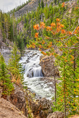 Firehole Falls in Yellowstone National Park, Wyoming, USA
