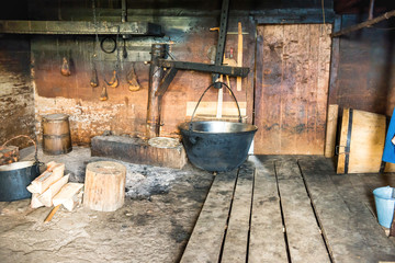 Dairy creamery with homemade cheese equipment in village house