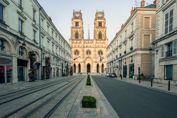 Orleans Cathedral, France. Church of the Holy Cross, of Catholic worship under the advocacy of the Holy Cross of Orleans.