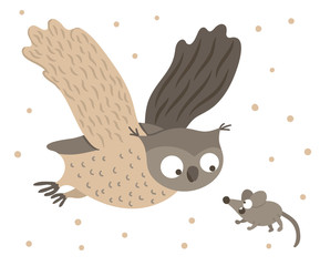 Vector hand drawn flat owl flying with spread wings for scared mouse. Funny hunt scene with woodland bird. Cute forest animalistic illustration for children's design, print, stationery.
