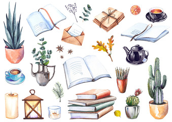 Set of books, house plants, coffee cups, letters, candles and leaves. Cozy home illustration. Watercolor isolated on white background.
